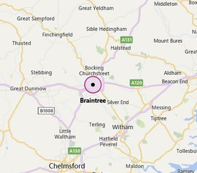 map showing Braintree and the areas we cover